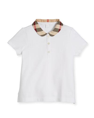 Cotton-Stretch Shirt w/ Check Peter Pan Collar, White, Size 4-14