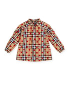 Haleena Check & Polka-Dot Long-Sleeve Blouse, Red, Size 4-14