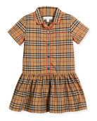 Melanie Check Dress w/ Contrast Tipping, Beige, Size 4-14