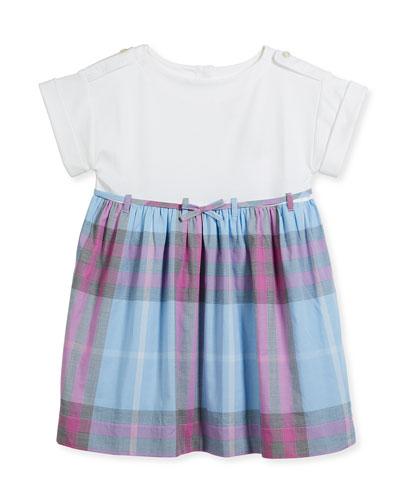 Rhonda Jersey & Check Poplin Dress, Blue, Size 4-14
