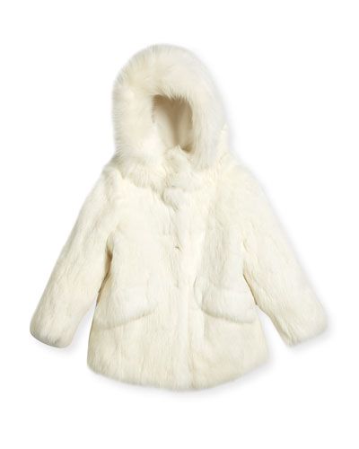 Fur Hooded Coat, Size 2T-12Y