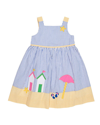 Beach Scene Seersucker Dress, Size 2-6X