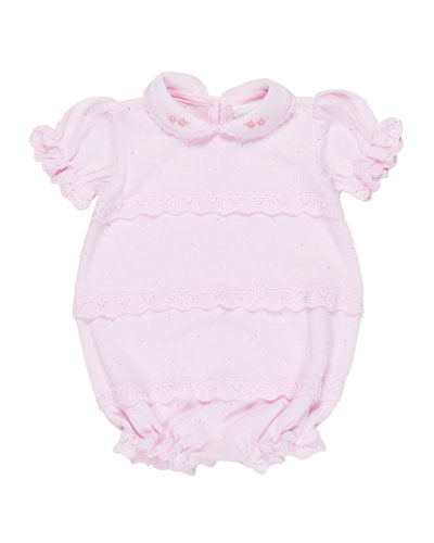 Knit Ruffle Playsuit w/ Flower Detail, Size 3-12 Months