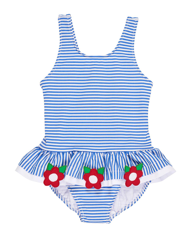 Stripe Seersucker Ruffle One-Piece Swimsuit w/ Flower Trim, Size 6-24 Months