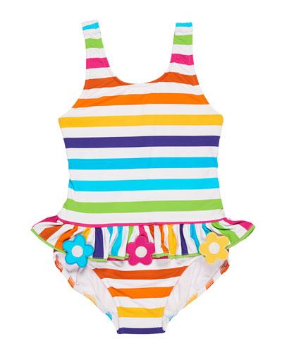 Stripe Ruffle One-Piece Swimsuit w/ Flower Trim, Size 2-6X