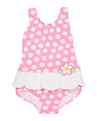Petal-Skirt Polka-Dot One-Piece Swimsuit, Size 6-24 Months