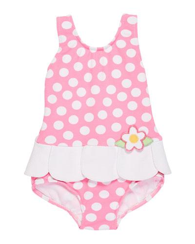 PetalSkirt PolkaDot OnePiece Swimsuit Size 624 Months