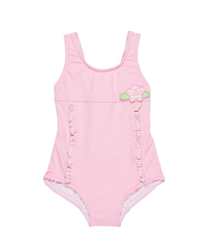 Solid OnePiece Swimsuit w Stripe Ruffle Trim Size 624 Months