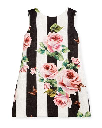 Striped Rose Brocade Dress, Size 2-6