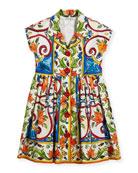 Maiolica-Print Poplin Dress, Size 8-12
