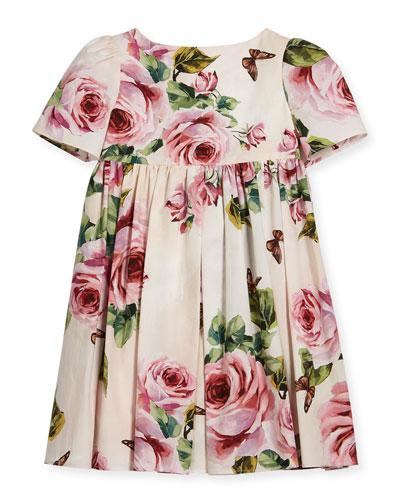 Short-Sleeve Cotton Rose Dress, Size 2-6