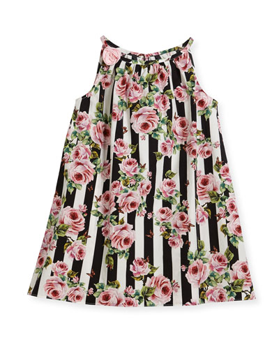 Poplin Stripe Floral Dress, Size 8-12