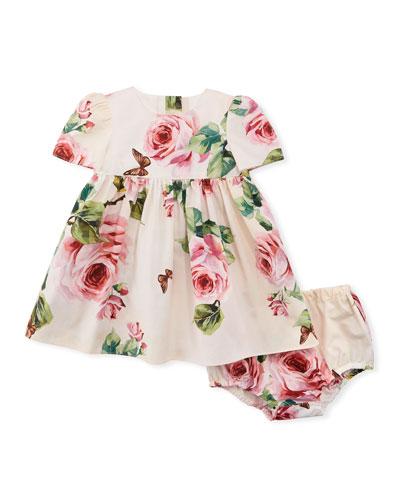 Floral-Print Poplin Dress w/ Bloomers, Size 12-30 Months
