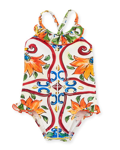 Maiolica Ruffle One-Piece Swimsuit, Size 12-24 Months