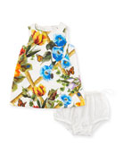 Brocade Bamboo-Print Dress w/ Bloomers, Size 12-30 Months