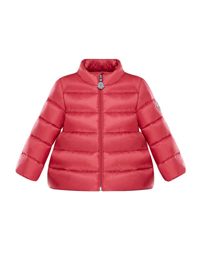 Joelle Quilted Down Coat, Dark Pink, Size 12M-3Y