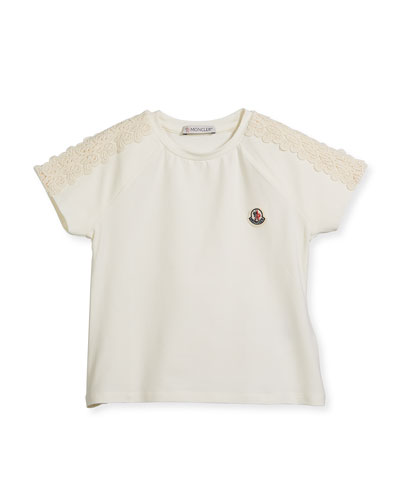 Maglia Short-Sleeve T-Shirt w/ Lace Trim, Size 4-6