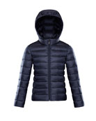Iraida Hooded Lightweight Down Puffer Jacket, Navy, Size 8-14