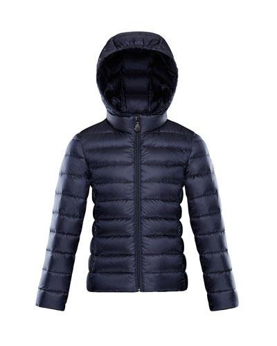 Iraida Hooded Lightweight Down Puffer Jacket, Navy, Size 4-6