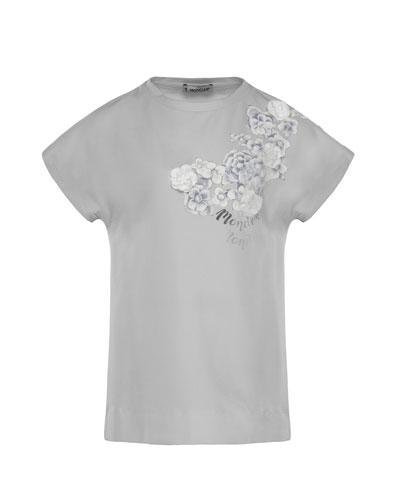 Maglia Flower & Logo Short-Sleeve T-Shirt, Size 4-6