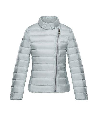 Amy Asymmetric-Zip Jacket, Light Gray, Size 8-14