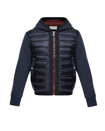 Down Quilted Hooded Jacket w/ Knit Sleeves, Size 4-6
