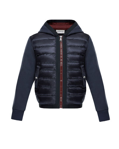 Down Quilted Hooded Jacket w/ Knit Sleeves, Size 8-14