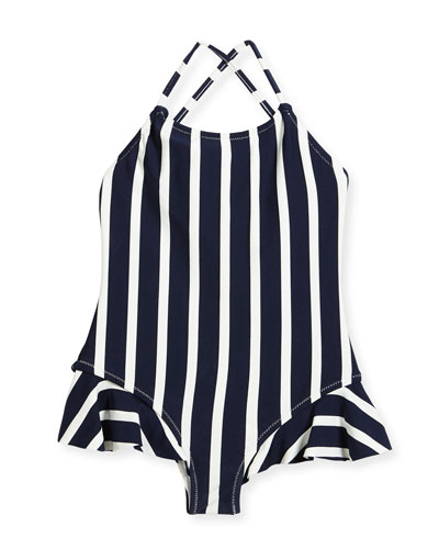 Striped One-Piece Swimsuit w/ Ruffle Trim, Size 8-14
