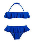 Ruffle Two-Piece Swimsuit, Cobalt, Size 8-14