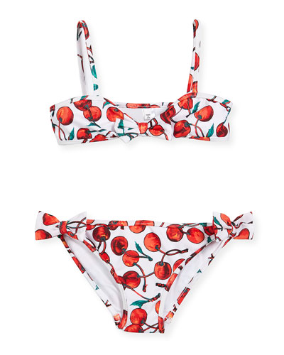 Bow Cherry-Print Two-Piece Swimsuit, Size 4-7
