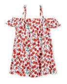 Eden Cherry-Print Coverup Dress, Size 8-14