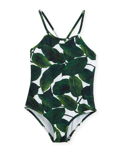 Palm-Print One-Piece Crossback Swimsuit, Size 4-7