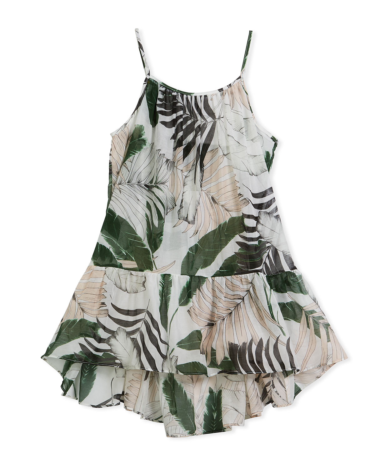 Palm Tree-Print High-Low Coverup Dress, Size 4-7