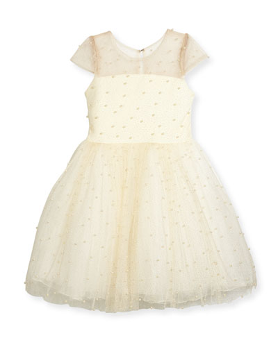Maisie Mesh Tulle Party Dress w/ Pearly Beads, Ivory, Size 7-16