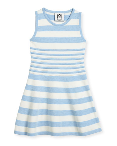 Striped Knit Flare Dress, Navy/White, Size 8-14