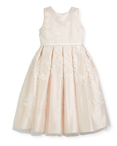 Satin Dress w/ Floral Embroidered Overlay, Ivory, Size 4-14