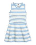 Striped Knit Flare Dress, Blue/White, Size 4-7