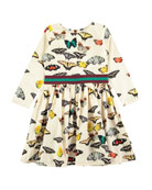 Christin Butterfly-Print Long-Sleeve Dress, Size 2T-12