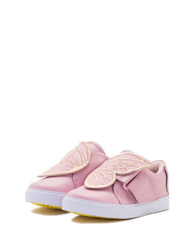 Bibi Embroidered-Butterfly Low-Top Sneaker, Pink, Sizes 5T-3Y