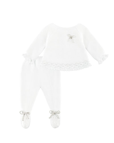 Knit Bow-Detail Sweater w/ Footed Leggings, White, Size 1-6 Months