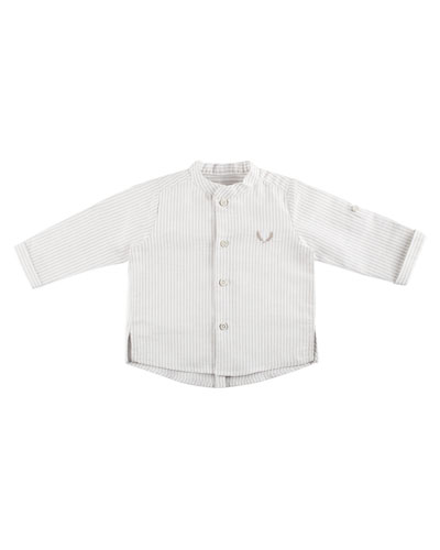 Long-Sleeve Striped Shirt w/ Mandarin-Collar, Size 12M-3T