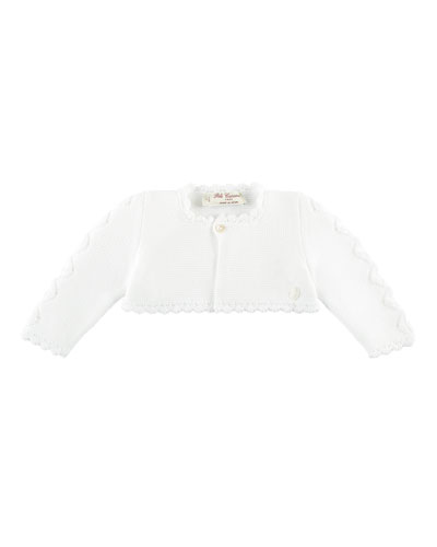 Short Cotton Knit Ruffle Cardigan, White, Size 3M-3Y