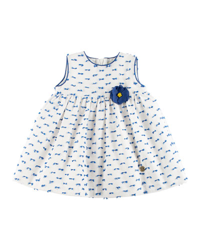 Patterned Dress w/ Bloomers, White, Size 12M-3Y