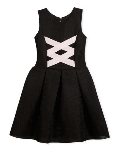 Box-Pleat Sleeveless Dress w/ Ballet Lace-Up Front, Black/Pink, Size 4-6X