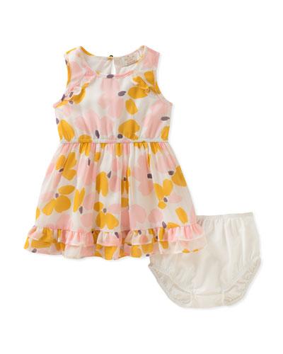 floral ruffle-hem dress w/ bloomers, size 12-24 months