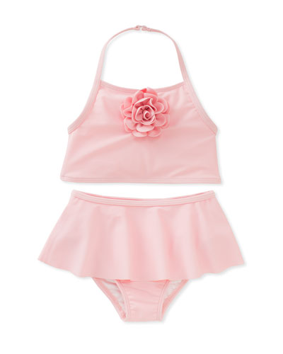 skirted two-piece halter swimsuit, pink, size 12-24 months