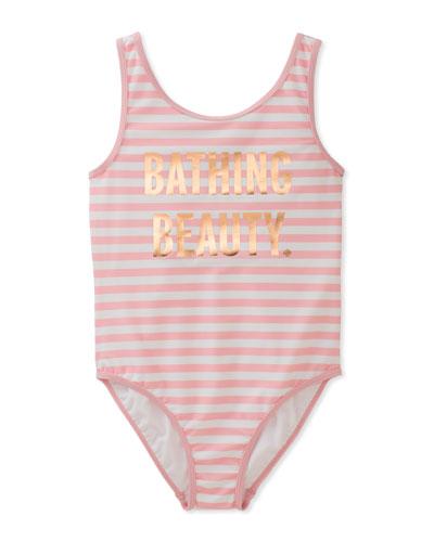 stripe bathing beauty one-piece swimsuit, size 7-14