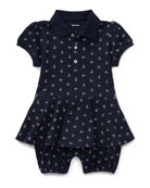 Mesh Anchor-Print Play Dress, Blue, Size 3-18 Months
