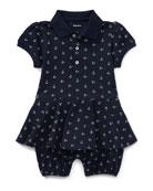 Mesh Anchor-Print Play Dress, Blue, Size 3-18 Months