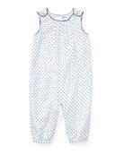 Batiste Polka-Dot Jumpsuit, Blue, Size 3-12 Months
